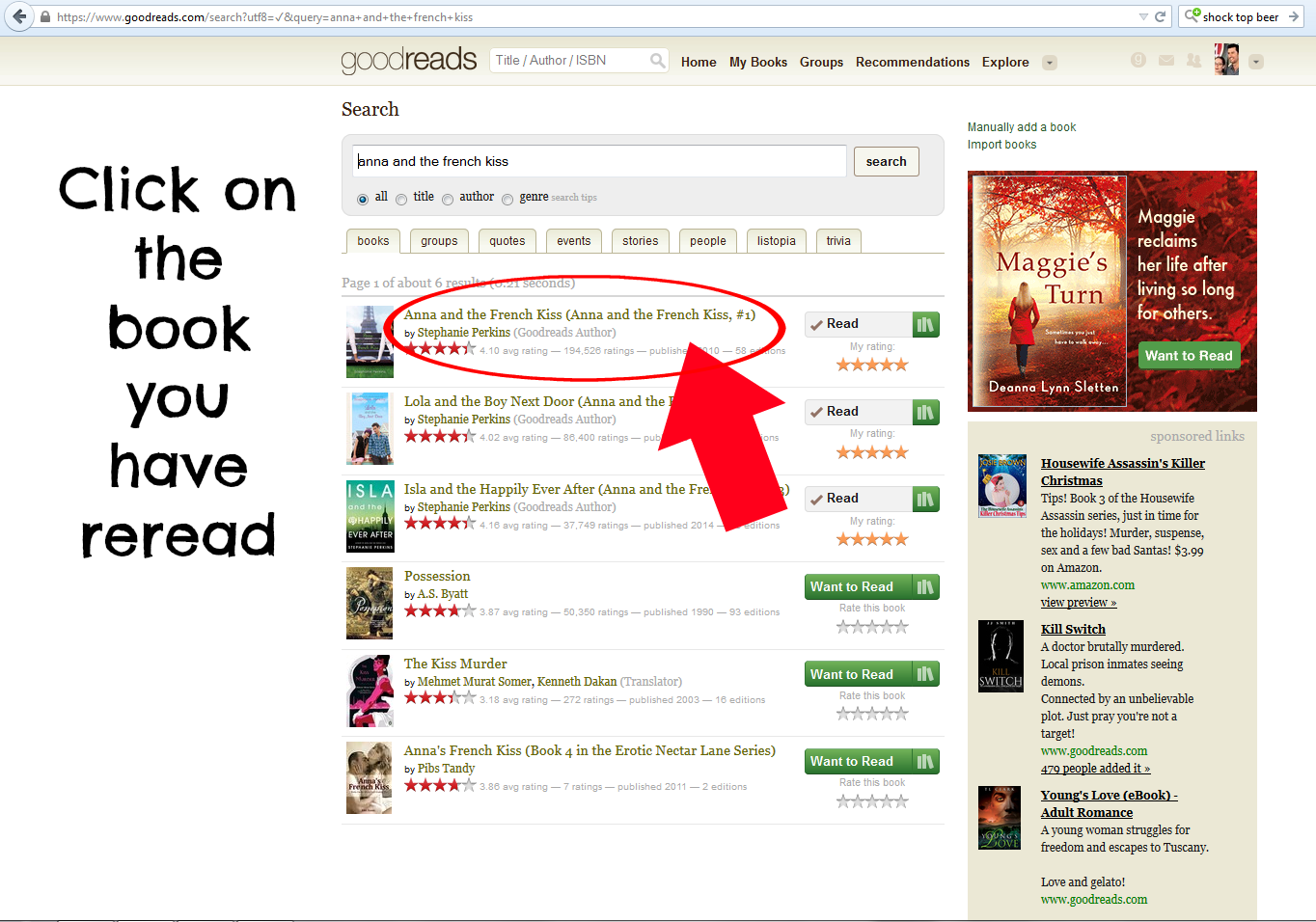Goodreads Tip: Adding Rereads - Andi's ABCs